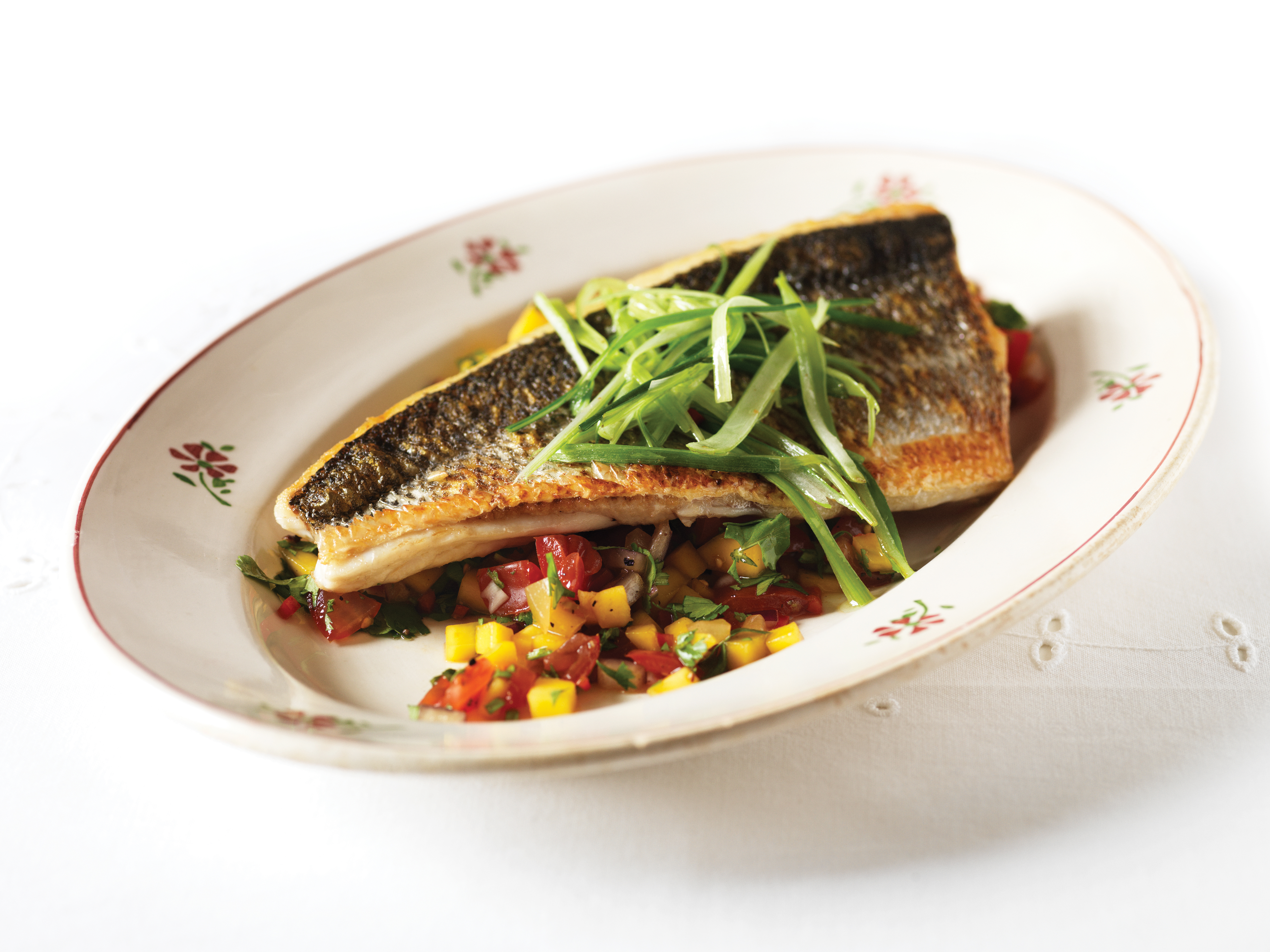Pan Fried Sea Bass with Tangy Mango Salsa