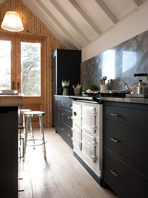 AGA Dual Control in White surrounded by black cabinetry