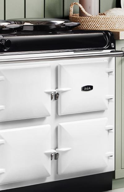 AGA R3 series in white with green cabinetry