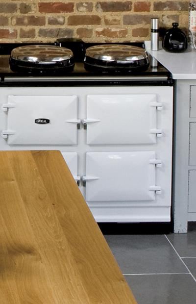 AGA eR7 Series 150 in white in large farmhouse kitchen