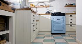 AGA 60 in duck egg blue in kitchen with white cabinetry