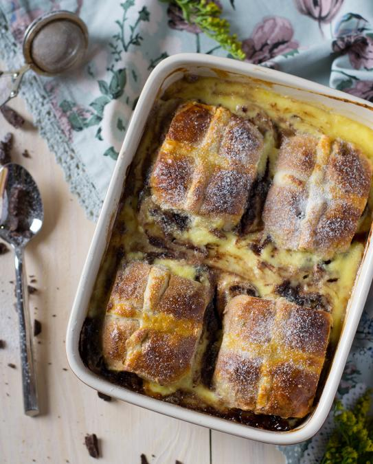 Hot Cross Bun, Chocolate and Rum Pudding