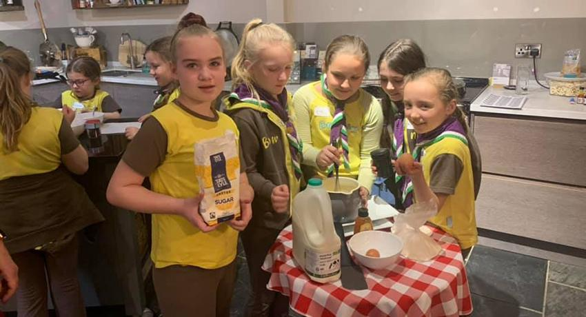 Brownie group baking at AGA Oundle