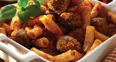 Spicy Meatballs in Tomato Sauce with Pasta