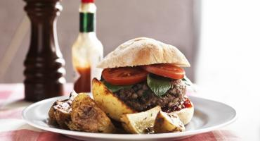 Homemade Burgers with Chunky Wedges
