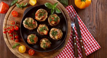 Leek And Red Pepper Stuffed Mushrooms