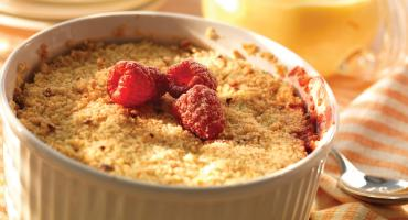 Peach And Raspberry Hazelnut Crumble
