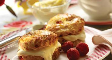 Raspberry Buttermilk Scones With Clotted Cream