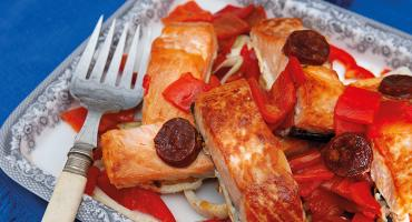 Salmon, Chorizo and Roasted Peppers