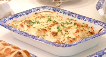 Cauliflower and Leek Bake in Portmeirion dish