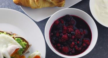 Croissants, compote and poached eggs