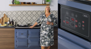 AGA Demonstrator Penny Zako and Dartmouth Blue AGA eR7 Series Cooker
