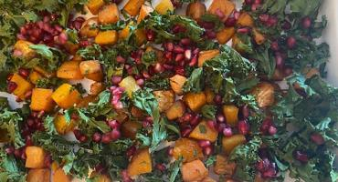 Roasted Butternut Squash & Sweet Potato with Kale & Pomegranate