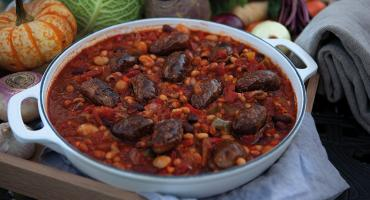Sausage Cassoulet in the AGA cast-iron buffet pan