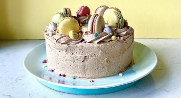 Easter Macaron Cake with Peanut Butter Frosting