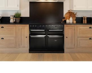 AGA Masterchef Deluxe with induction hob in black in Neptune kitchen