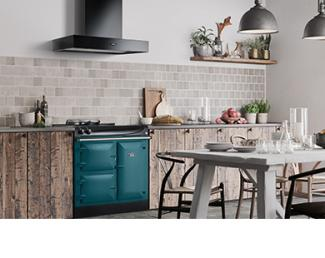 AGA eR3 Series 90cm in Salcombe Blue with Black Cooker Hood in Nordic Kitchen