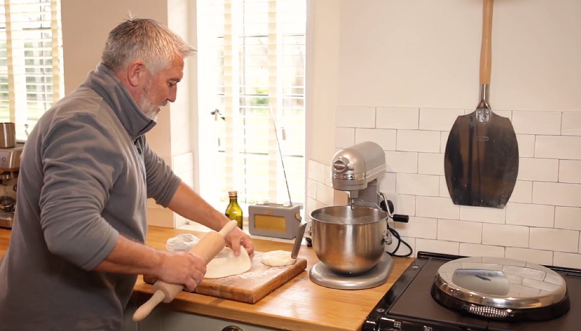 Paul Hollywood baking a flatbread at his home