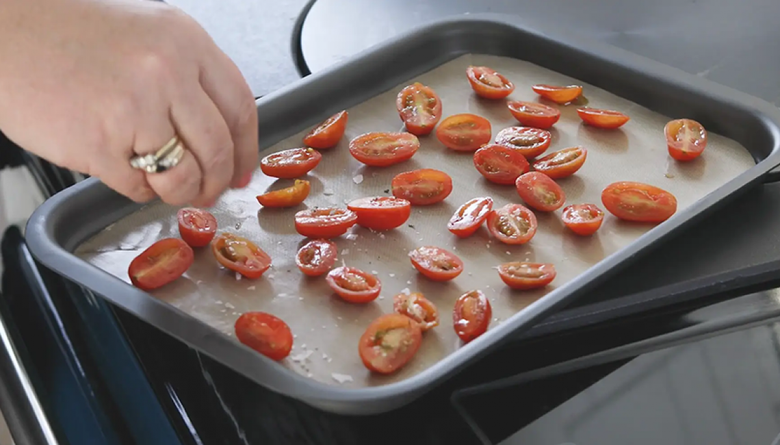 vine tomatoes on a tray