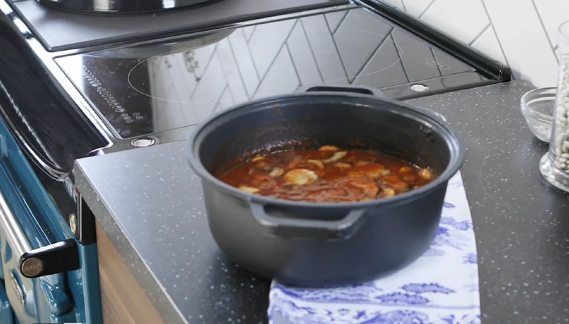 Bean casserole cooking in the AGA