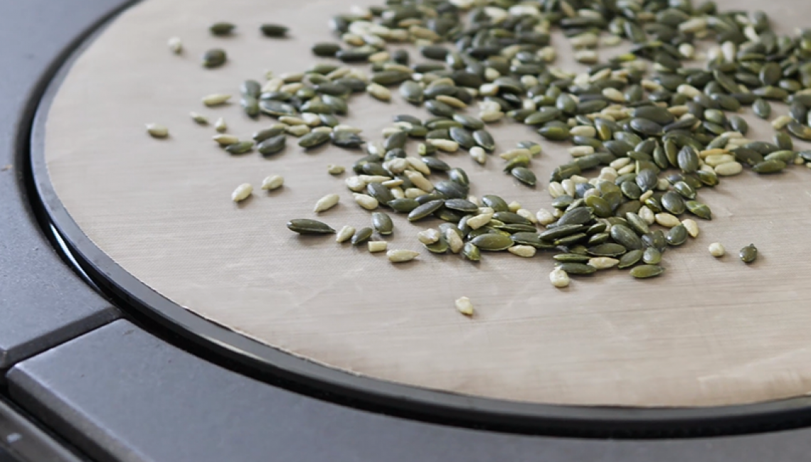 Toasting seeds and nuts on the AGA hotplate