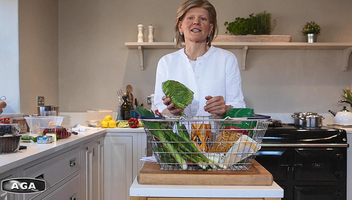 AGA Demonstrator Na Hansell with fresh vegetables