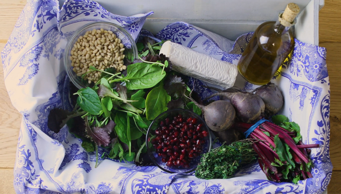 Fresh ingredients for a goat's cheese and beetroot salad