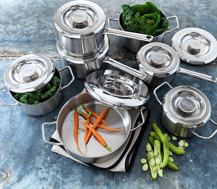 AGA Cookshop Stainless Steel pans and casseroles