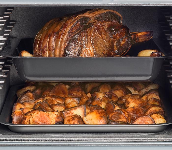AGA Roasting oven with beef and roast potatoes