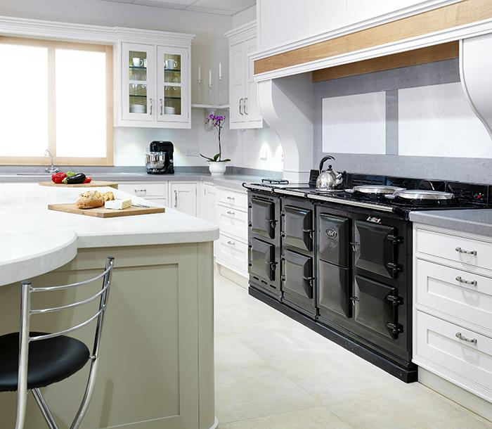4 oven 30 amp AGA cooker in black with an integrated module