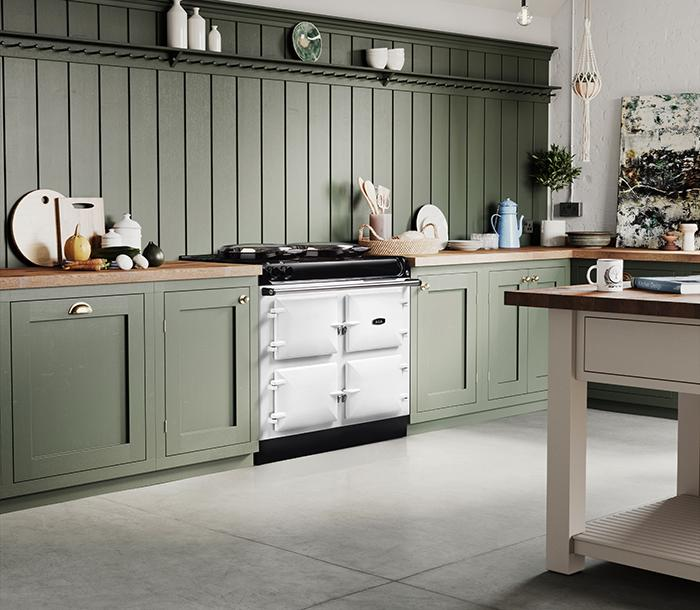 AGA R3 100 model in white in a kitchen with green cabinetry
