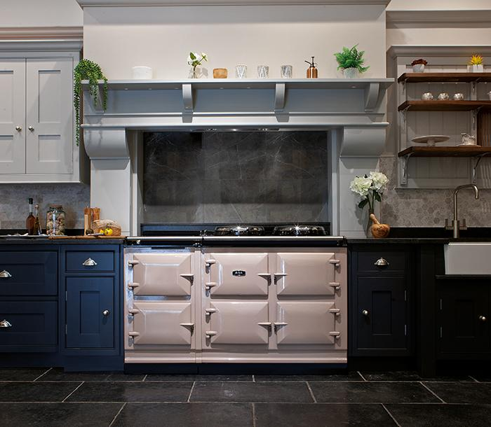 AGA eR7 150 in Blush against blue cabinets