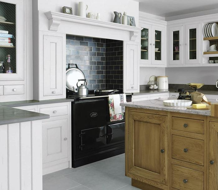 AGA R5 2-oven in Black in Fired Earth kitchen