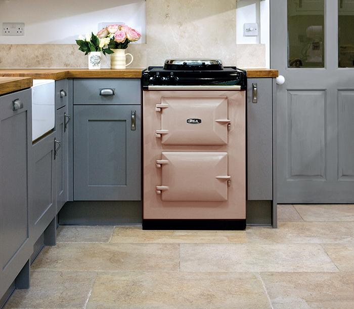 AGA 60 in blush with grey cabinets