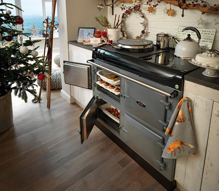 AGA eR3 Series 100 in kitchen decorated for Christmas