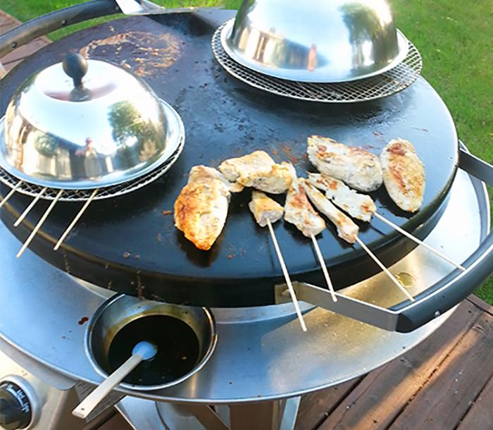 Chicken skewers cooking on the AGA Professional Outdoor Grill
